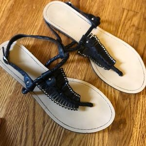 Boho black fringe leather sandals
